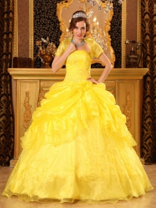 Popular Yellow Sweet 16 Quinceanera Dress Strapless Organza Appliques Ball Gown