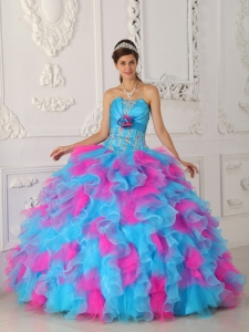 Sweet Multi-color Sweet 16 Dress Strapless Organza Appliques and Hand Flower Ball Gown