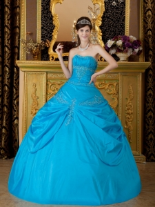 Sweet Sky Blue Sweet 16 Quinceanera Dress Strapless Appliques Taffeta Ball Gown
