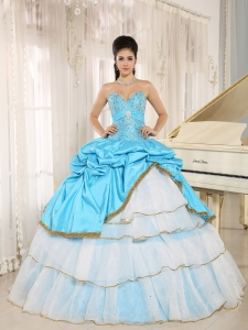 Sweetheart Beaded and Pick-ups For Aqua Blue and White Sweet 16 Dress Ruffled Layers In Kailua-Kona City Hawaii