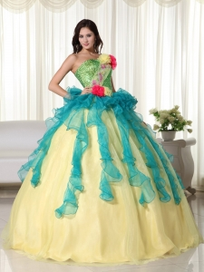 Teal and Yellow Ball Gown Strapless Floor-length Organza Beading Sweet 16 Dress