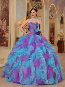 The Most Popular Purple and Aqua Blue Sweet 16 Dres Sweetheart Ruffles Organza Ball Gown