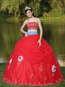 Tulle Strapless Red Sweet 16 Dress For Girl With Flower Beaded Decorate