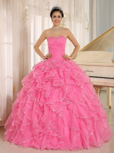 2013 Ruffles and Beaded For Rose Pink Sweet 16 Dress Custom Made In Kailua City Hawaii