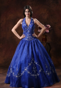 Halter Sweet 16 Dress With Embroidery Decorate Organza In 2013