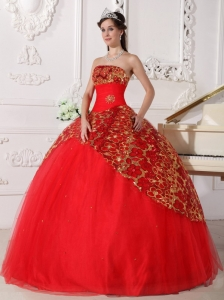 Beautiful Red Sweet 16 Dress Strapless Tulle Beading and Ruch Ball Gown