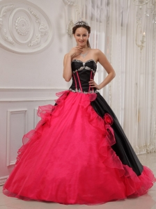 Beautiful Red and Black Sweet 16 Dress Sweetheart Satin and Organza Appliques