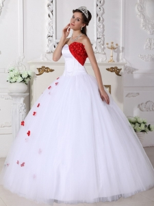Beautiful White and Red Sweet 16 Dress Sweetheart Satin and Tulle Appliques Ball Gown