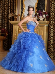 Classical Blue Sweet 16 Quinceanera Dress Sweetheart Ruffles Organza Ball Gown
