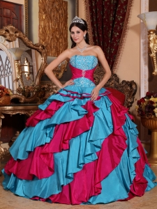 Discount Aqua Blue and Red Sweet 16 Dress Strapless Taffeta Embroidery Ball Gown