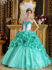 Discount Turquoise Sweet 16 Dress Sweetheart Organza Hand Made Flowers Ball Gown