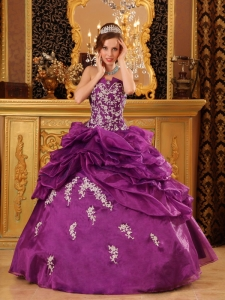 Formal Purple Sweet 16 Quinceanera Dress Strapless Organza Appliques Ball Gown