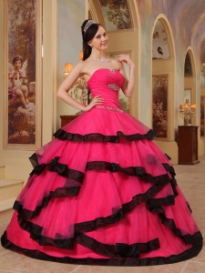 Gorgeous Coral Red and Black Sweet 16 Dress Strapless Organza Appliques Ball Gown
