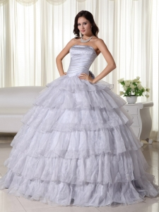 Gray Ball Gown Strapless Floor-length Organza Beading Sweet 16 Dress