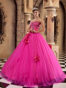 Luxurious Hot Pink Sweet 16 Dress Strapless Satin and Tulle Beading Ball Gown