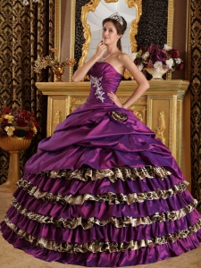 Popular Purple Sweet 16 Dress One Shoulder Taffeta and Leopard Appliques Ball Gown