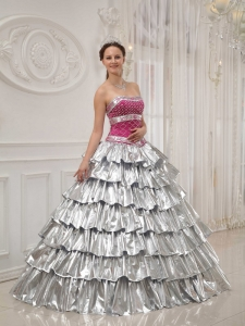 Popular Sweet 16 Dress Strapless Satin and Taffeta Beading / Princess