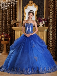 Popular Royal Blue Sweet 16 Dress Sweetheart Appliques Organza Ball Gown