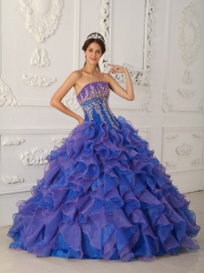 Pretty Royal Blue and Purple Sweet 16 Dress Strapless Organza Beading and Appliques Ball Gown