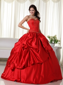 Red Ball Gown Sweetheart Floor-length Embroidery Sweet 16 Quinceanera Dress
