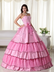 Rose Pink Ball Gown Strapless Floor-length Taffeta Beading Sweet 16 Dress