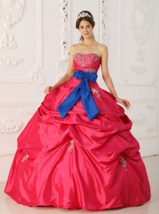 Simple Coral Red Sweet 16 Dress Strapless Taffeta Beading and Sash Ball Gown