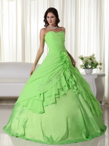 Spring Green Ball Gown Sweetheart Floor-length Chiffon Beading Sweet 16 Dress