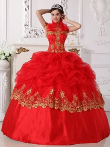 Affordable Red and Gold Sweet 16 Dress Halter Taffeta Beading and Appliques Ball Gown