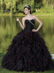 Beaded Decorate Bodice Sweetheart and Black Ball Gown For 2013 Sweet 16 Dress Organza Ruffles Layered