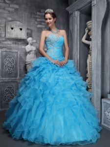 Beautiful Aqua Blue Sweet 16 Dress Sweetheart Taffeta and Organza Beading and Appliques Ball Gown