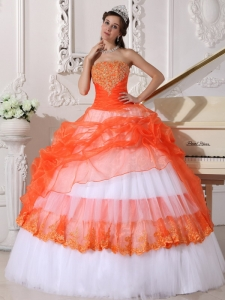 Beautiful Orange and White Sweet 16 Dress StraplessTaffeta and Organza Appliques Ball Gown