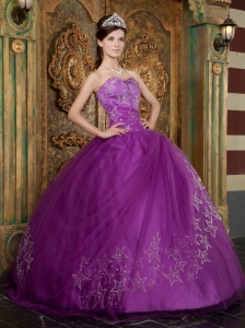 Beautiful Purple Sweet 16 Dress Sweetheart Appliques Tulle Ball Gown