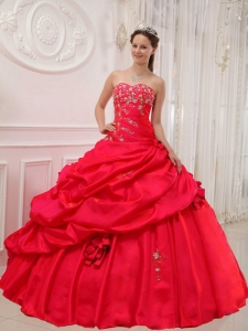 Beautiful Red Sweet 16 Quinceanera Dress Sweetheart Taffeta Appliques Ball Gown