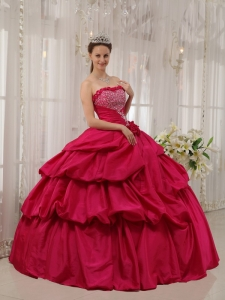 Best Coral Red Sweet 16 Quinceanera Dress Strapless Taffeta Beading Ball Gown