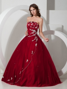 Customize Wine Red Sweet 16 Quinceanera Dress with Appliques and Beading