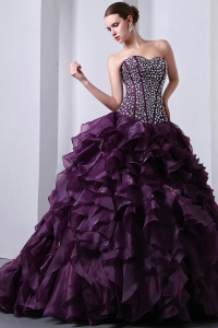 Dark Purple A-Line / Princess Sweetheart Beading and Ruffles Sweet 16 Dress Brush Train Organza