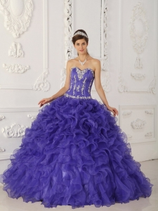 Discount Purple Sweet 16 Dress Sweetheart Satin and Organza Appliques Ball Gown