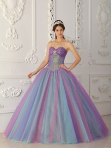 Elegant Multi-color Sweet 16 Dress Sweetheart Tulle Beading Ball Gown
