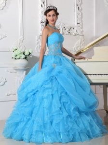 Fashionable Aqua Blue Sweet 16 Dress Strapless Organza Beading Ball Gown