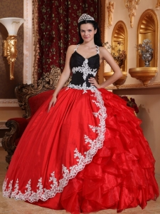 Gorgeous Red and Black Sweet 16 Dress V-neck Floor-length Taffeta and Organza Appliques Ball Gown