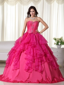 Hot Pink Sweetheart Floor-length Organza Embroidery Sweet 16 Dress