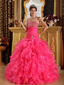 Hot Pink Exclusive Sweet 16 Dress Sweetheart Organza Beading Ball Gown