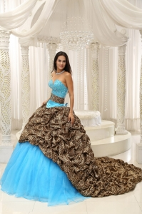 Leopard and Organza Beading Decorate Sweetheart Neckline Exquisite Style For 2013 Sweet 16 Dress