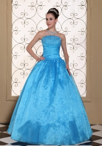 Lovely Strapless Sweet 16 Dress With Beaded Decorate Bust Taffeta and Organza Floor-length Gown