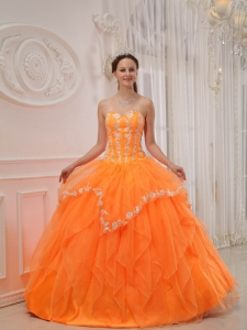 Luxurious Orange Sweet 16 Dress Sweetheart Organza Appliques Ball Gown