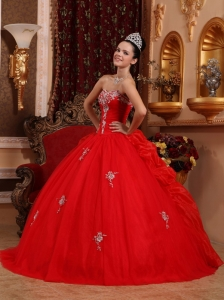 Luxurious Red Sweet 16 Quinceanera Dress Sweetheart Organza Appliques Ball Gown