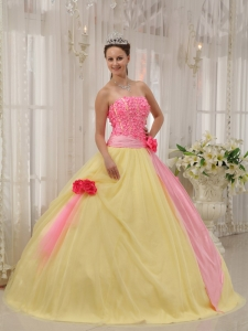 Modest Pink and Yellow Sweet 16 Dress Strapless Taffeta and Tulle Hand Made Flowers Ball Gown