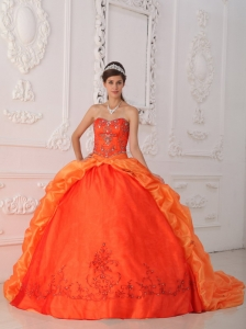 New Orange Red Sweet 16 Dress Sweetheart Organza Beading and Appliques Ball Gown