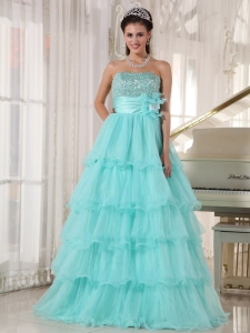 Popular Apple Green Sweet 16 Dress Strapless Taffeta and Organza Beading