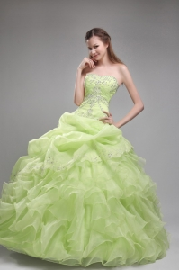 Romantic Yellow Green Sweet 16 Dress Strapless Orangza Beading and Ruffles Ball Gown